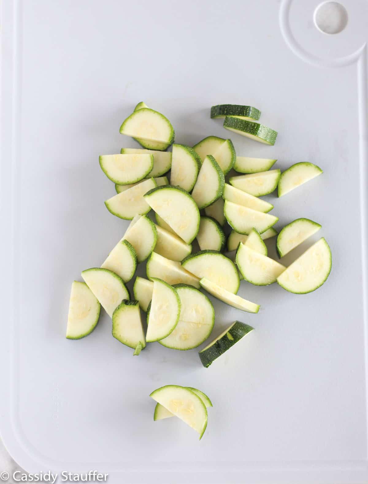 Sliced Zucchini Cut In Half