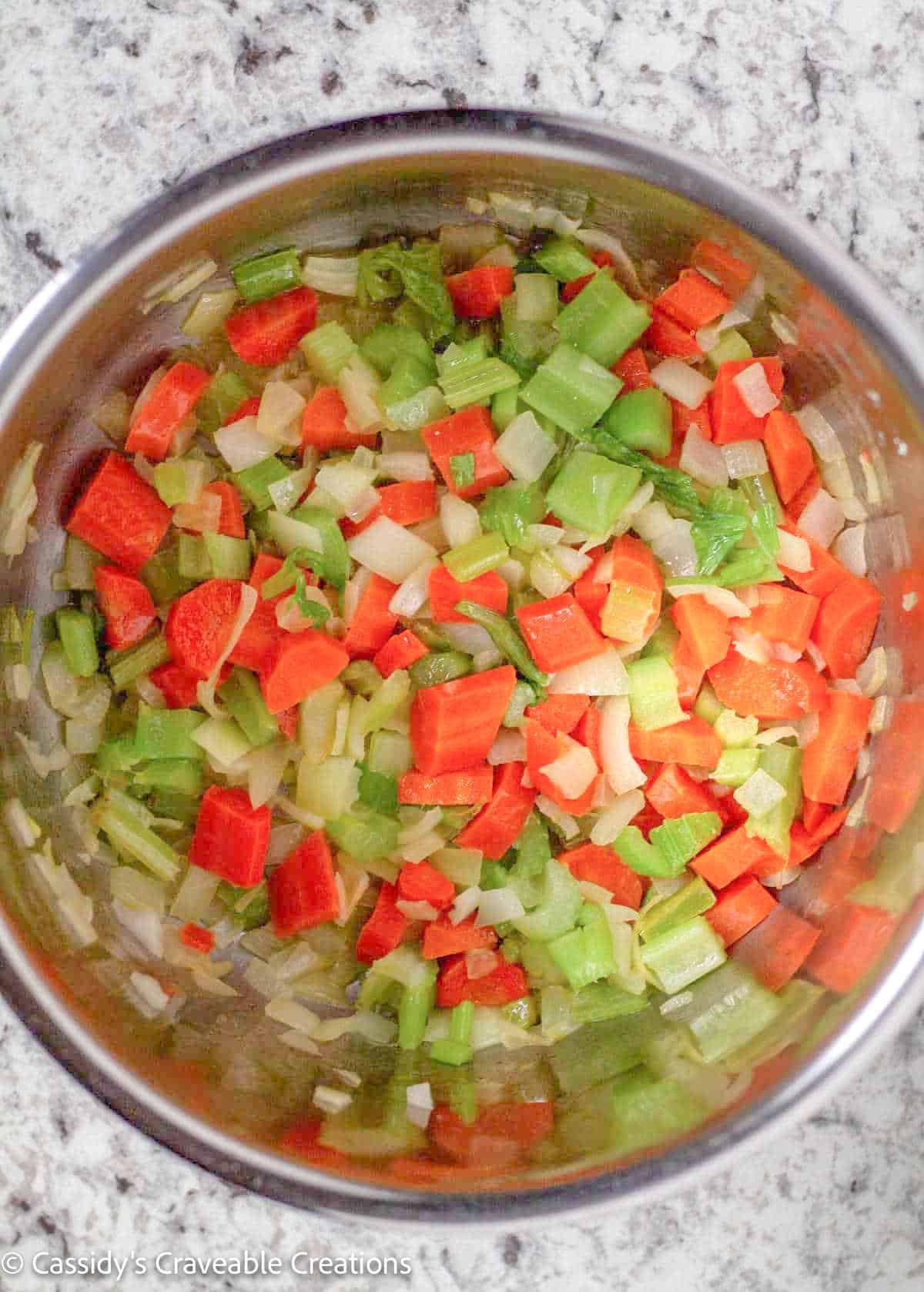 sauteed veggies in bowl of Instant Pot