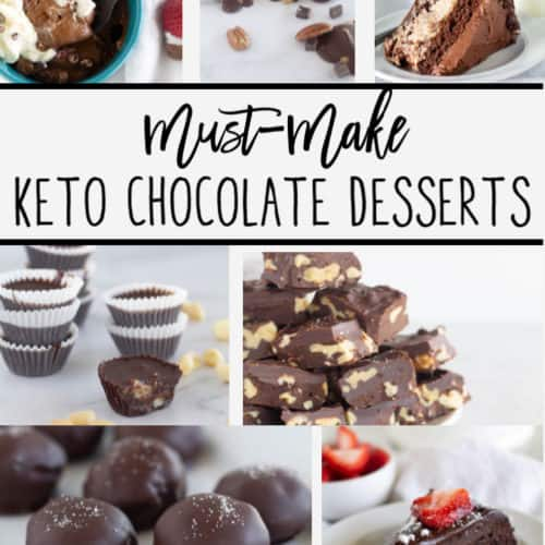 pinnable image of keto chocolate dessert roundup with text