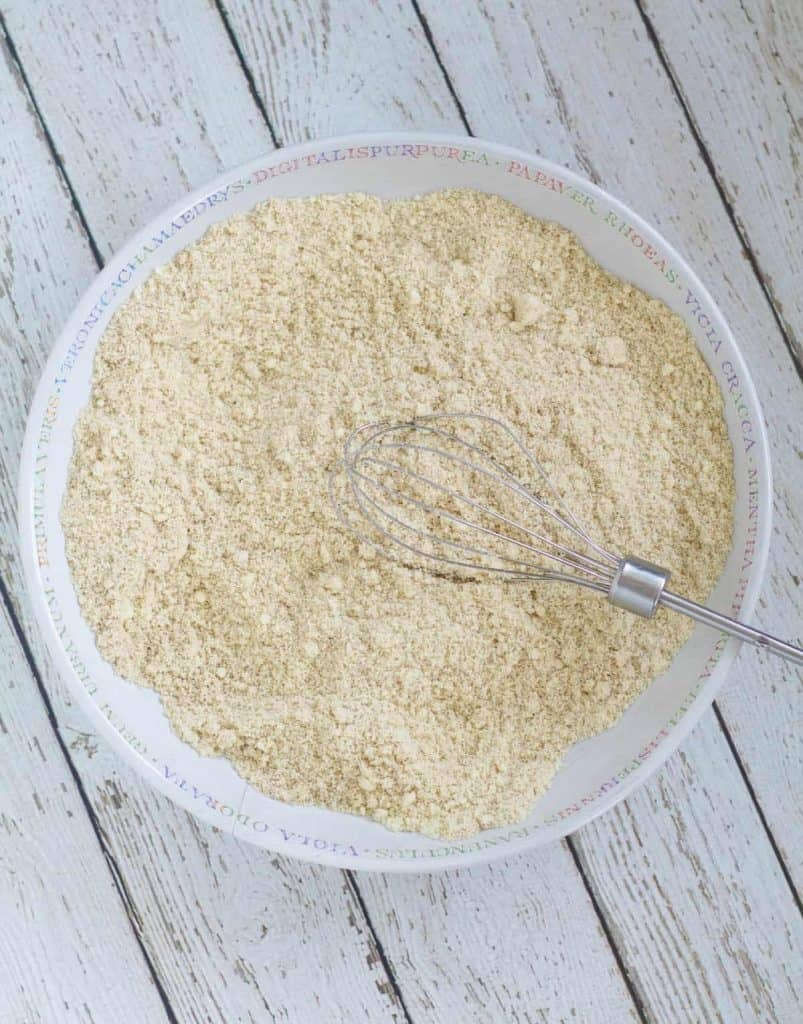 Dry ingredients whisked together in shallow bowl
