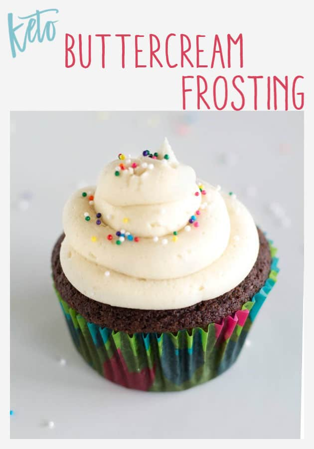 Pinnable image of keto buttercream frosting with text