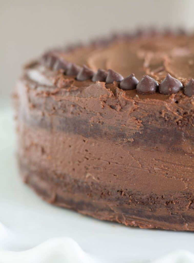 close up of cake with keto chocolate frosting