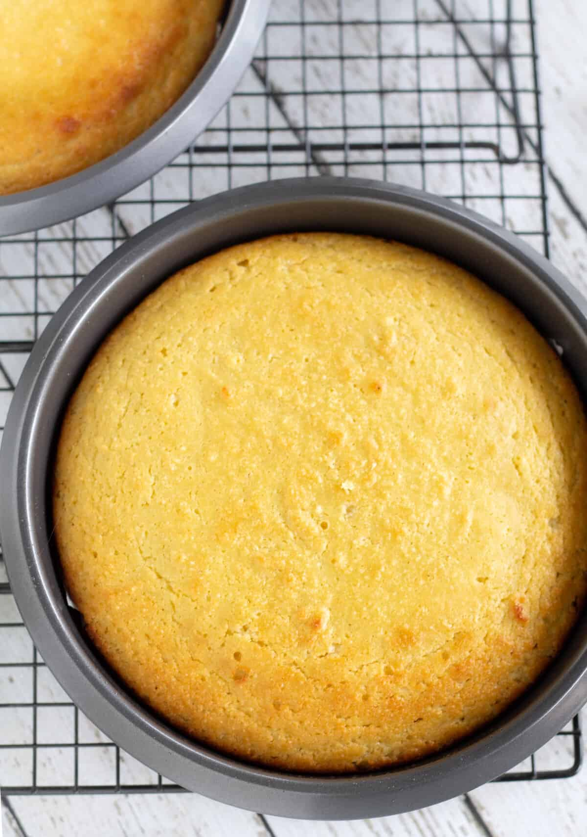 Baked Keto Vanilla Cakes on cooling rack