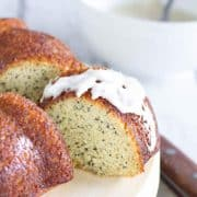 slice of lemon poppy seed cake with glaze