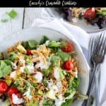 chicken taco salad with text for pinning