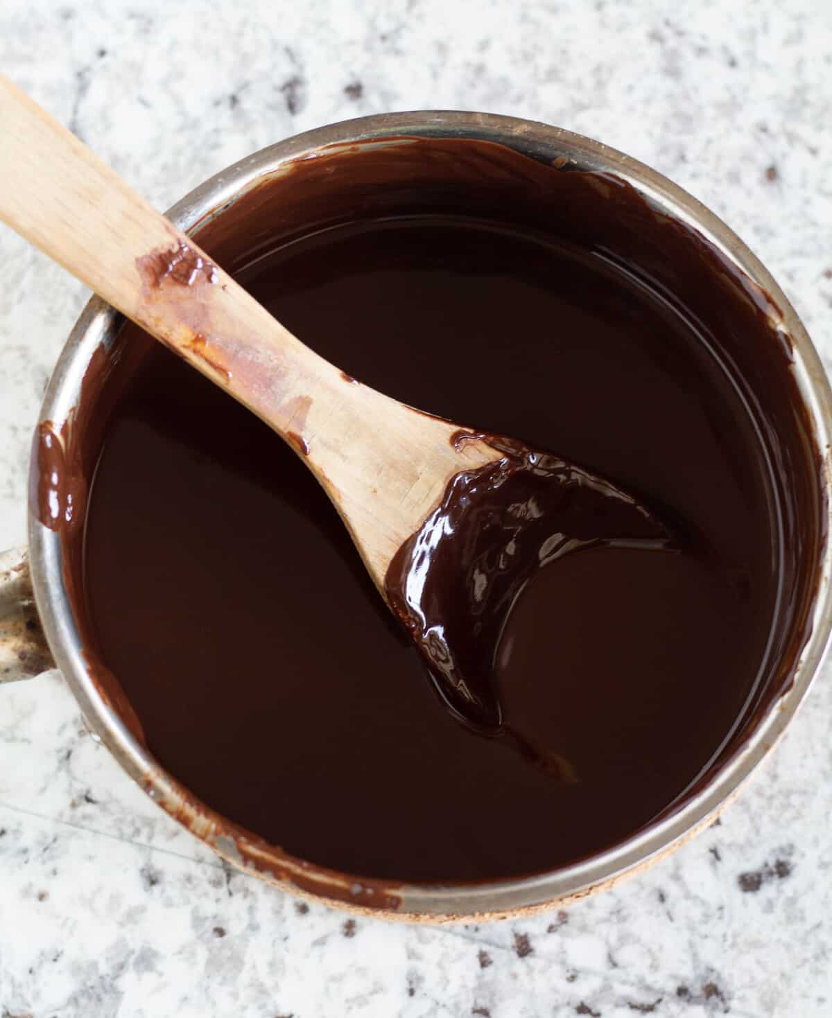 melted chocolate and butter in pot