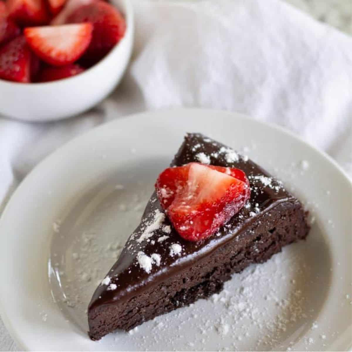 square image of keto flourless chocolate cake
