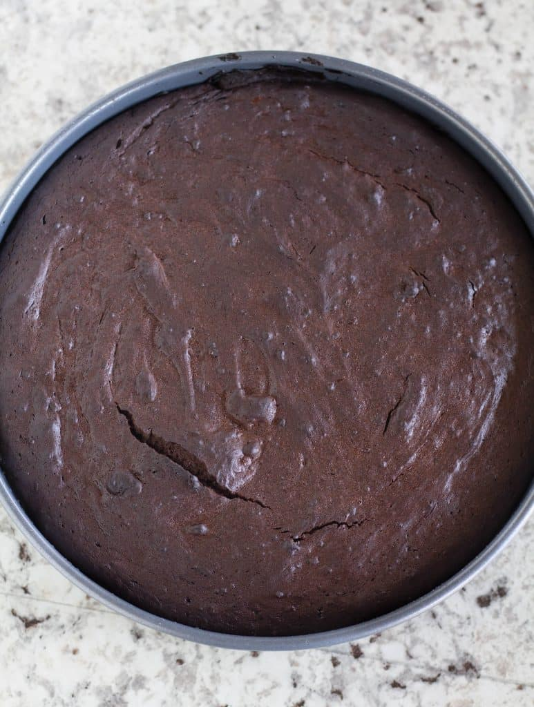 Freshly baked flourless chocolate cake in cake pan