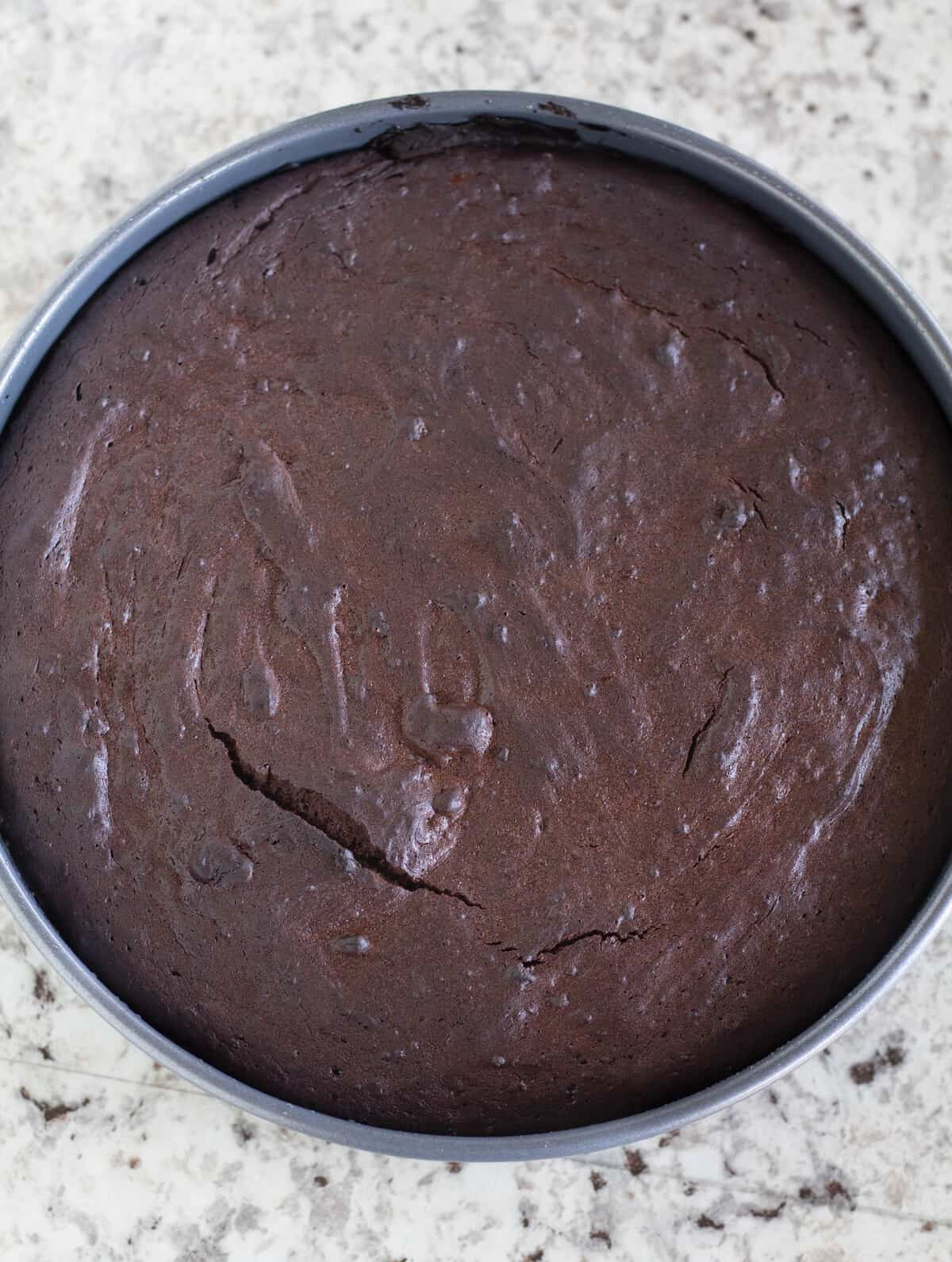 Freshly baked cake in cake pan