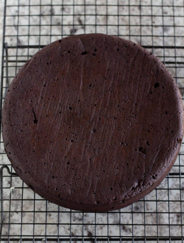 Keto Flourlesss Chocolate Cake on cooling rack