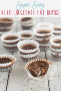 Pinnable image of keto chocolate fat bombs with image