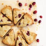 pinnable image of orange cranberry keto scones with text