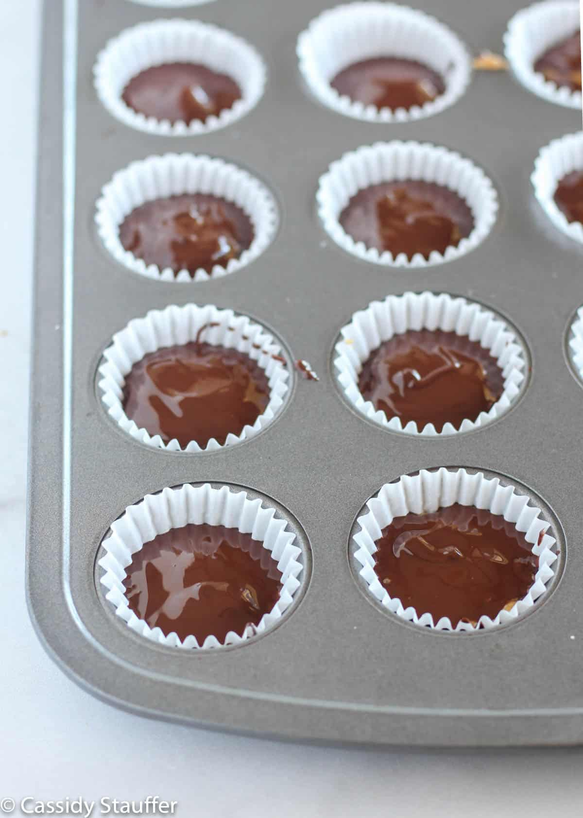 unset peanut butter cups in mini muffin tin