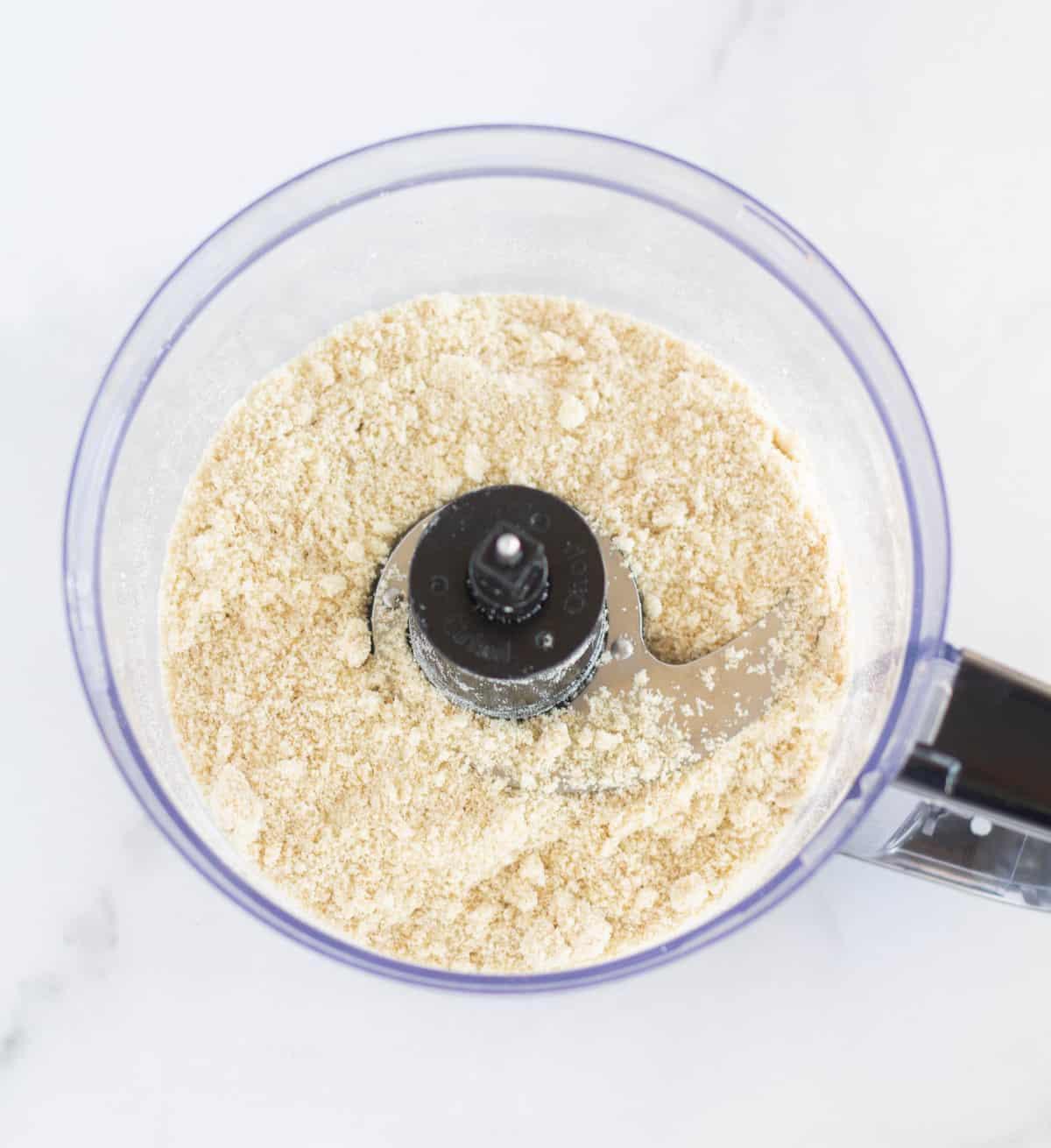 dry ingredients in bowl of food processor