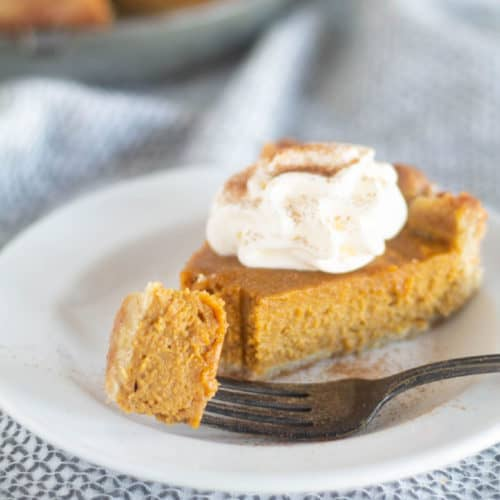 keto pumpkin pie on white plate