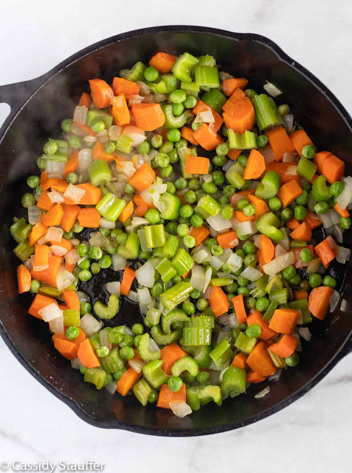 sauteing veggies in cast iron skillet