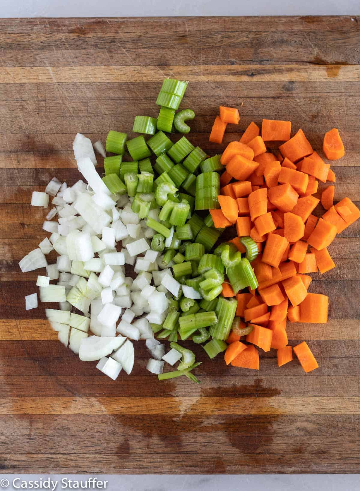 chopped onion, celery, and carrot