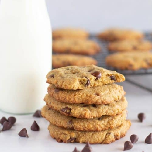 square image of stacked cookies with milk