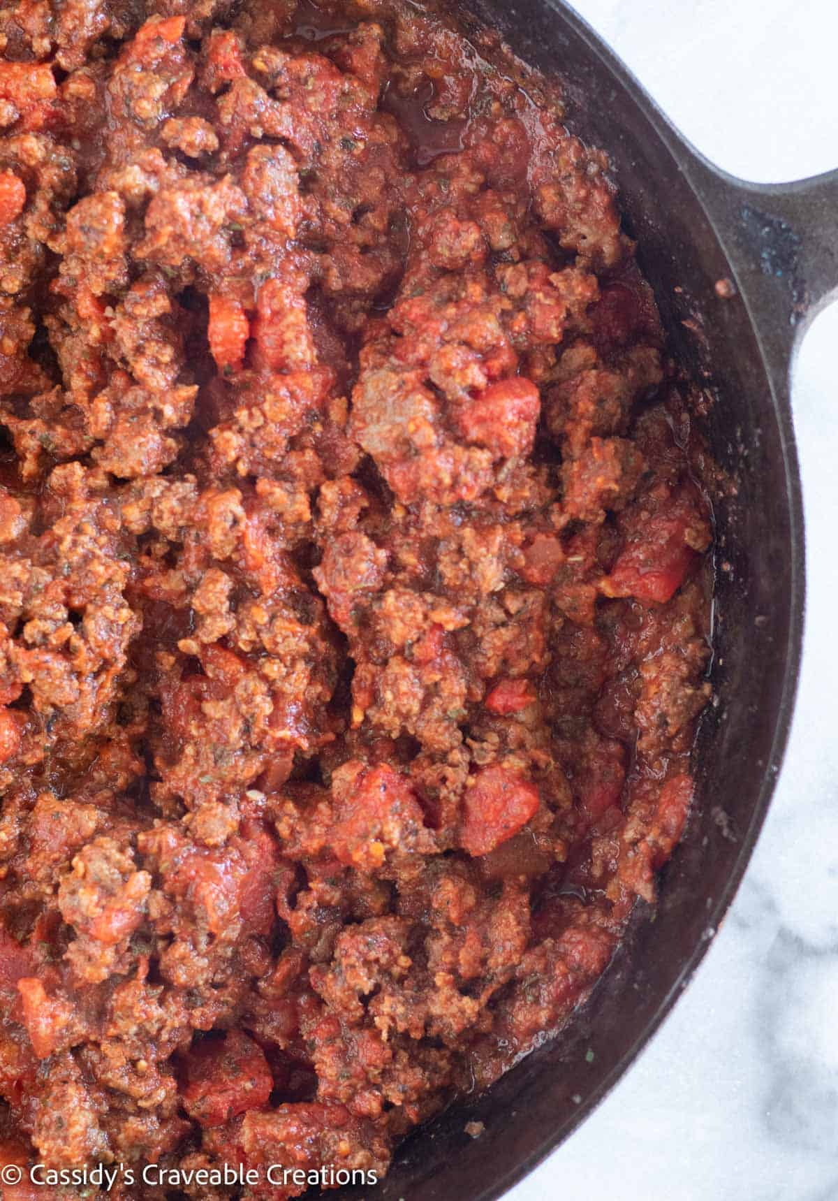 close up of meat sauce in skillet
