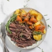overhead shot of pot roast on plate