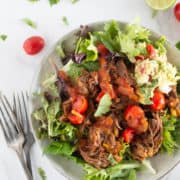 square image of keto shredded beef salad