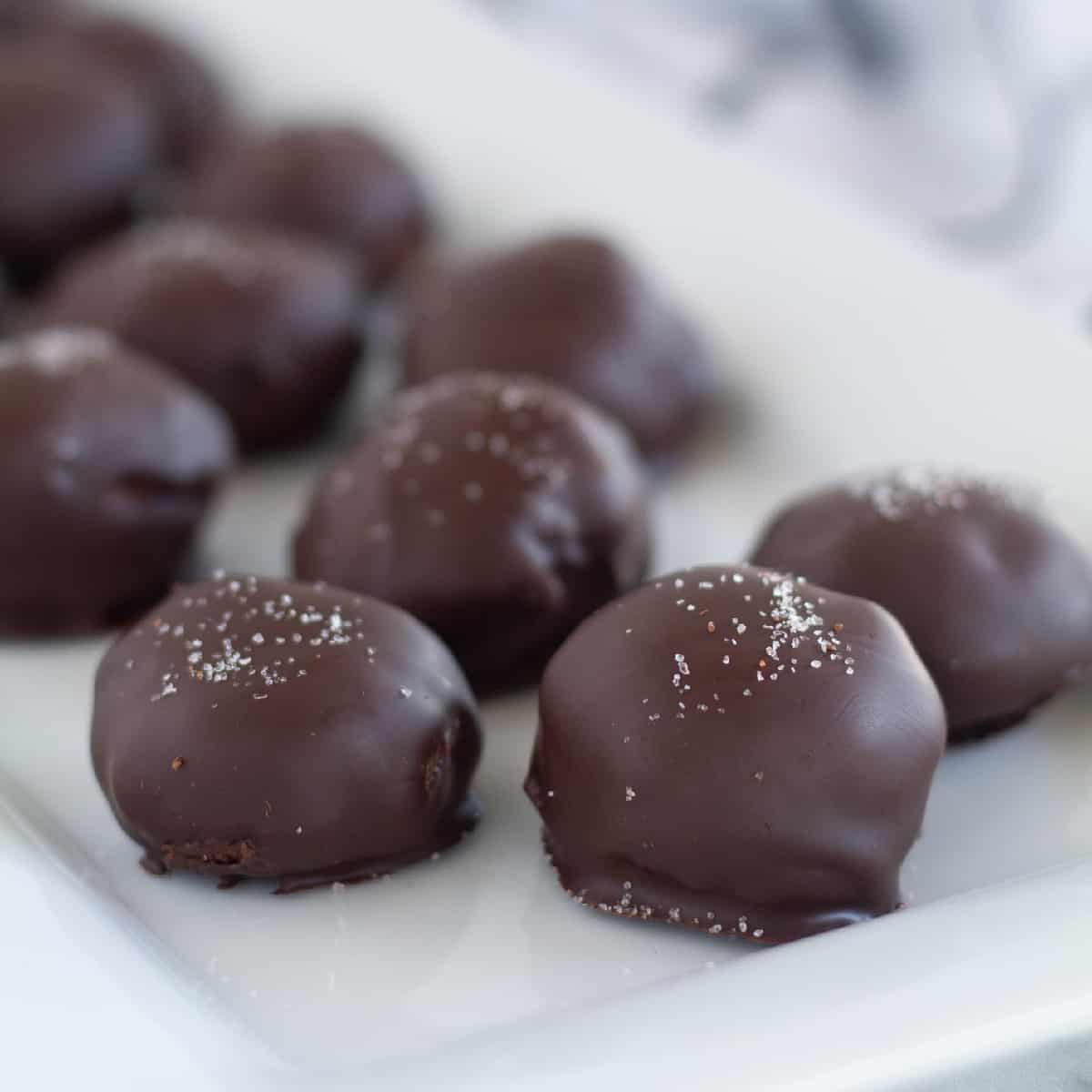 close up of keto truffles on plate