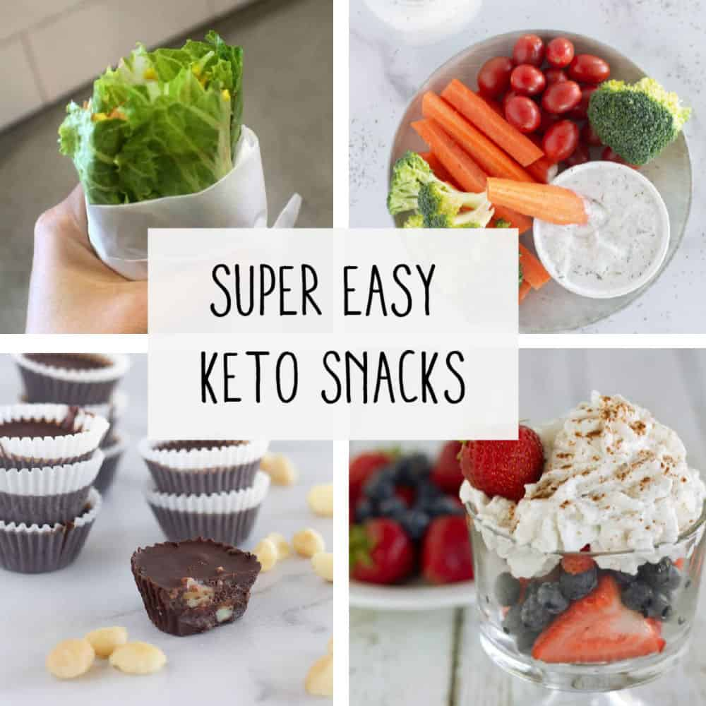 square image of keto snacks with text