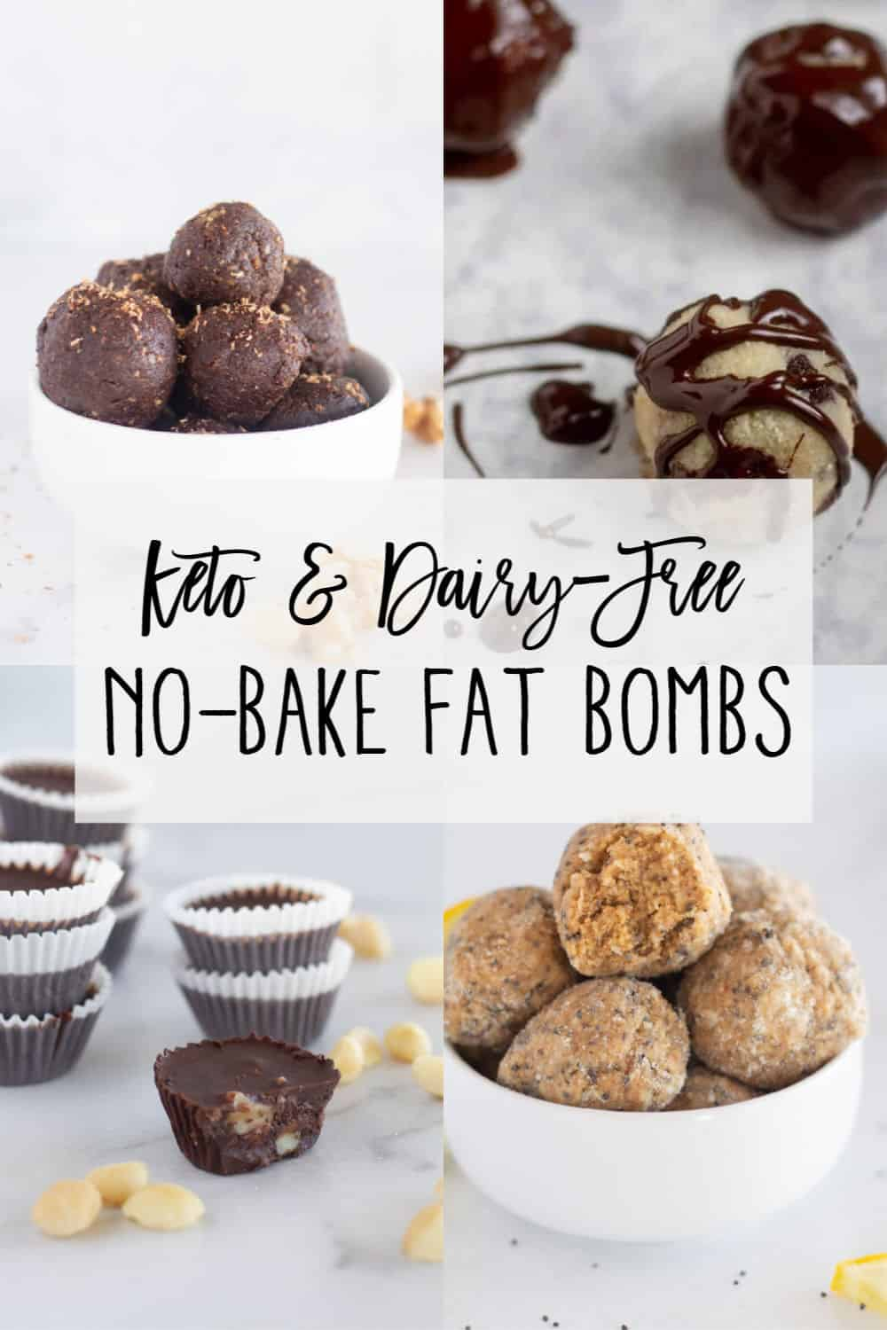 collage of keto fat bombs with text