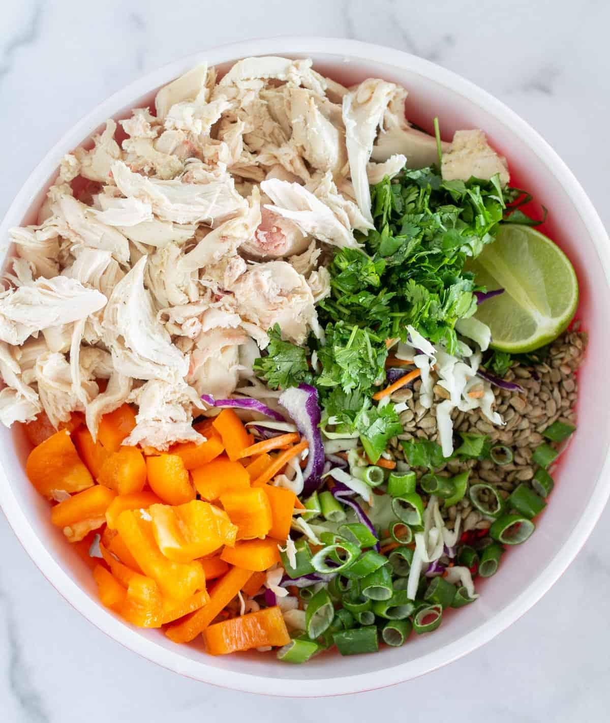 Unmix salad ingredients in bowl