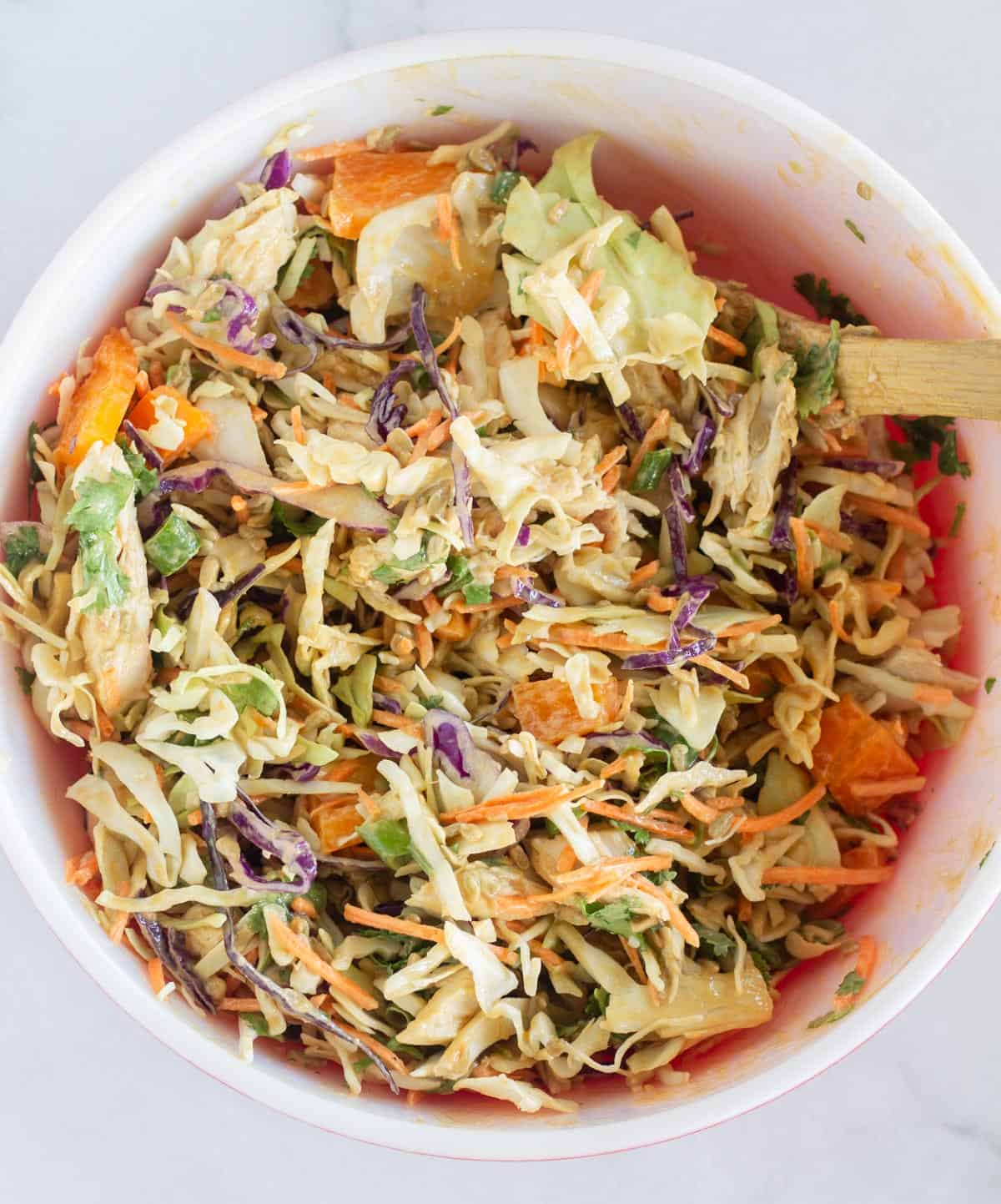 finished thai salad in large bowl