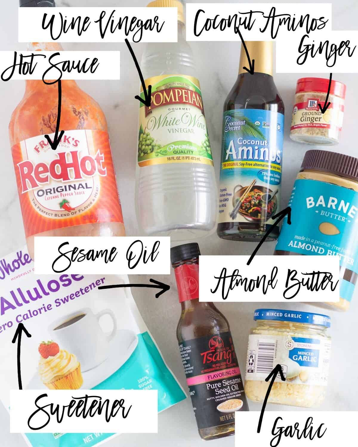 dressing ingredients with labels