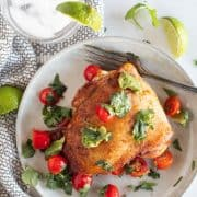 overhead shot of cilantro chicken with salsa on a plate