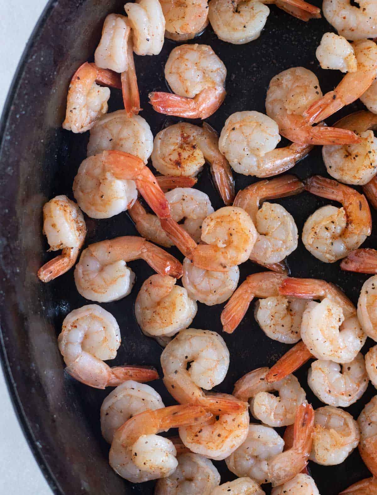 cooked shrimp in skillet