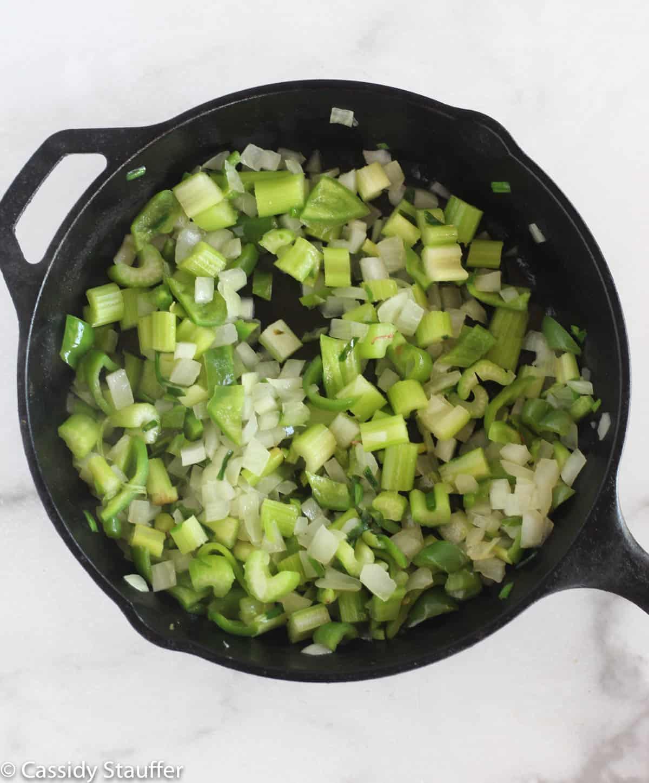 veggies in cast iron skillet