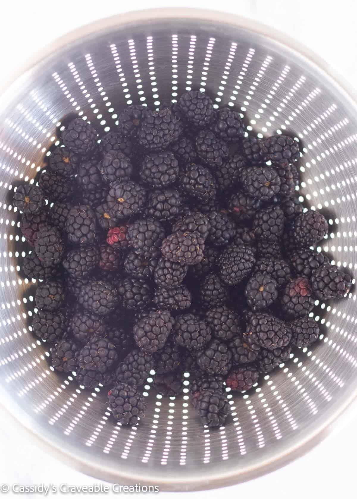 blackberries in a collander