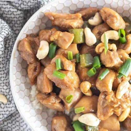overhead shot of cashew chicken with scallions