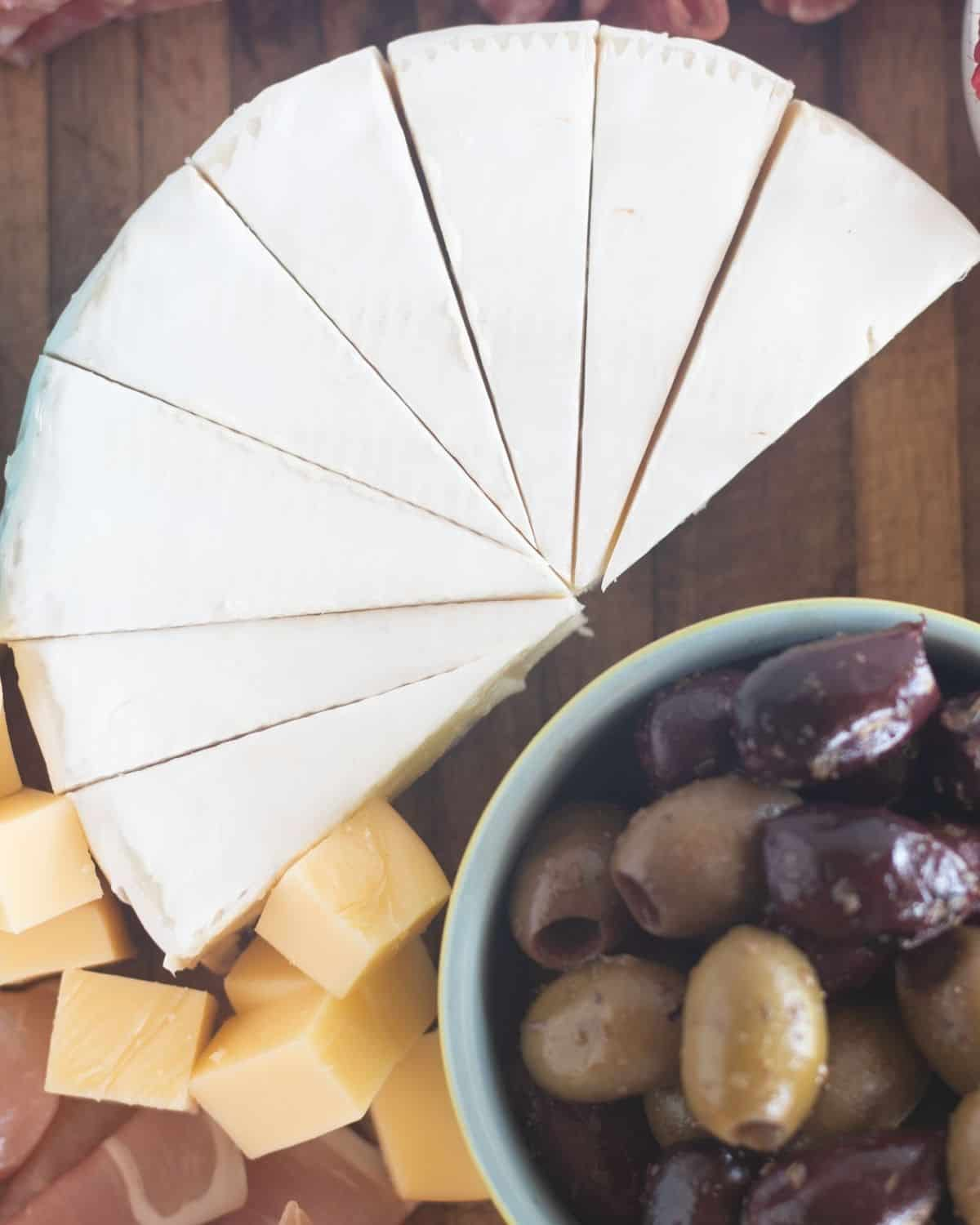 brie cut into wedges