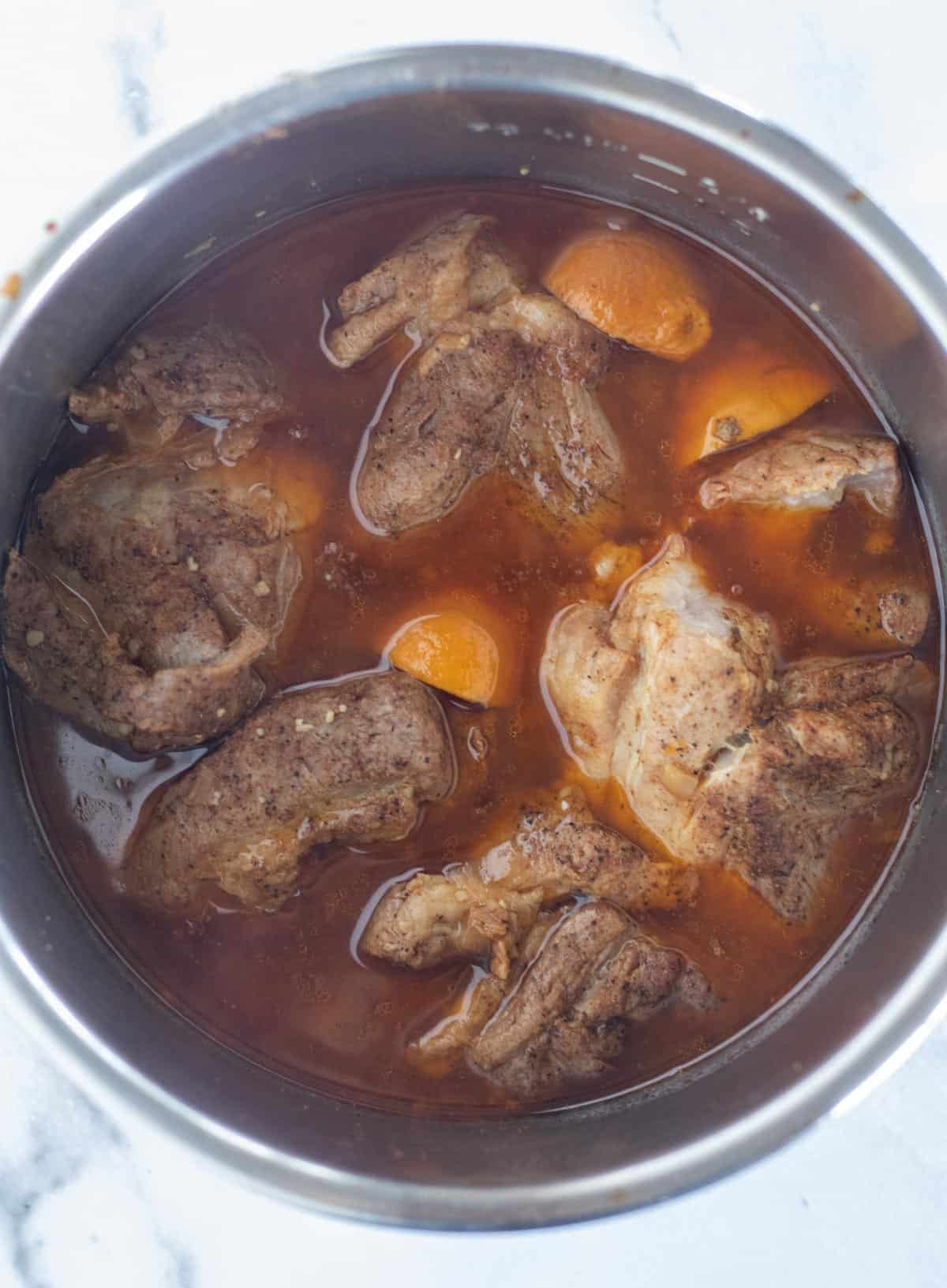 cooked pork in Instant Pot